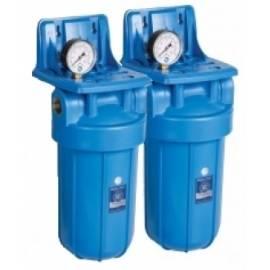 """AF-24 10"""" Aquafilter ® Filtro Doble en Serie Cartuchos Multifunción KDF + Silver"""