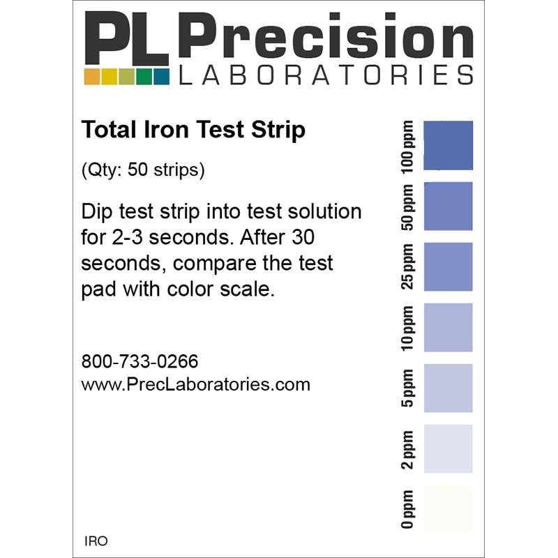 Tarjeta de niveles de hierro en el agua según el color obtenido en la tira reactiva